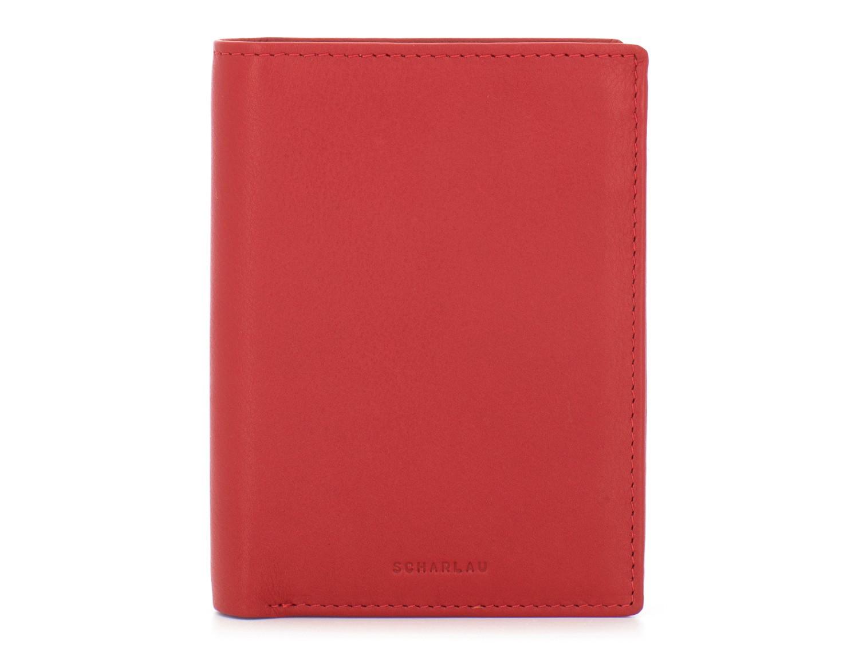 billetero vertical de piel rojo open