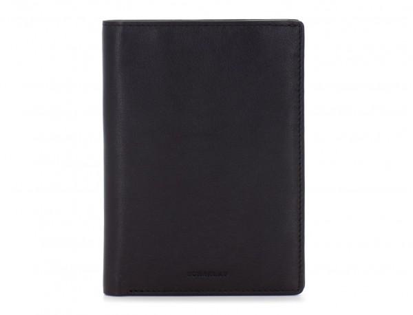 leather passport holder wallet black front