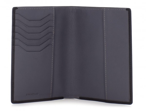 leather passport holder wallet black open