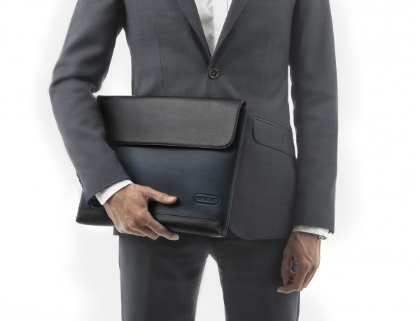 """Leather laptop sleeve 13.3"""" inch in blue model detail"""