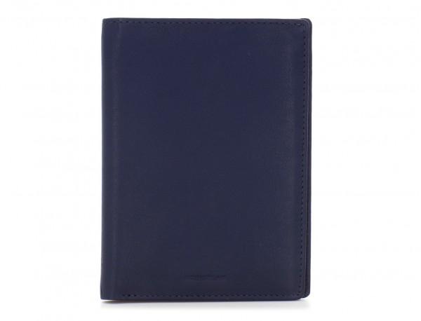 leather passport holder wallet blue side