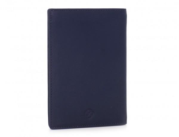 copertura per passaporto in pelle blu side