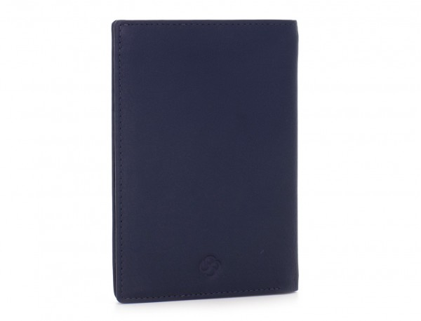 leather passport holder wallet blue front