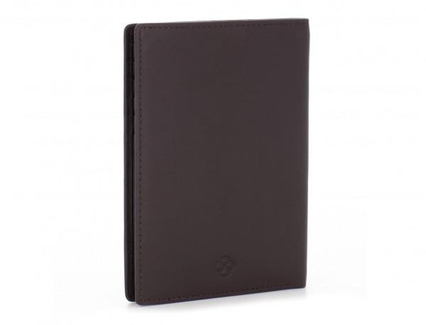 funda de piel para pasaporte marrón lado