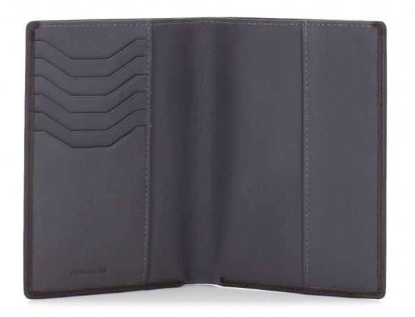 funda de piel para pasaporte marrón abierto