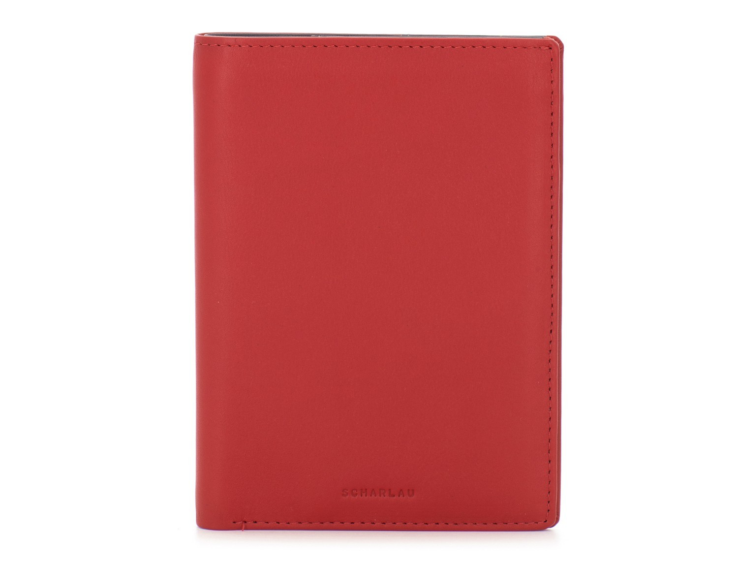 leather passport holder wallet red front