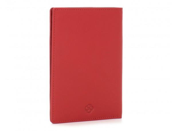 funda de piel para pasaporte rojo lado