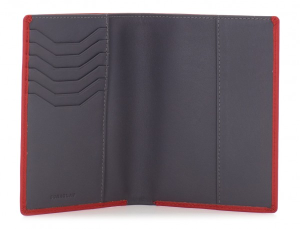 leather passport holder wallet red open