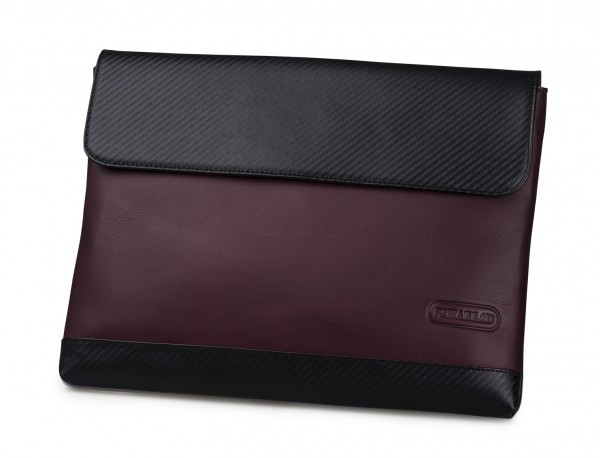 """Leather laptop sleeve 13.3"""" inch in burgundy front"""
