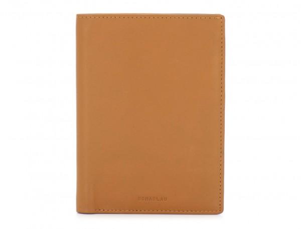leather passport holder wallet camel front