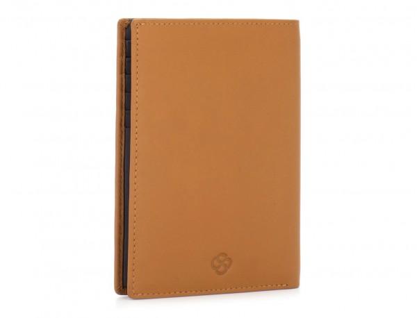 leather passport holder wallet camel side