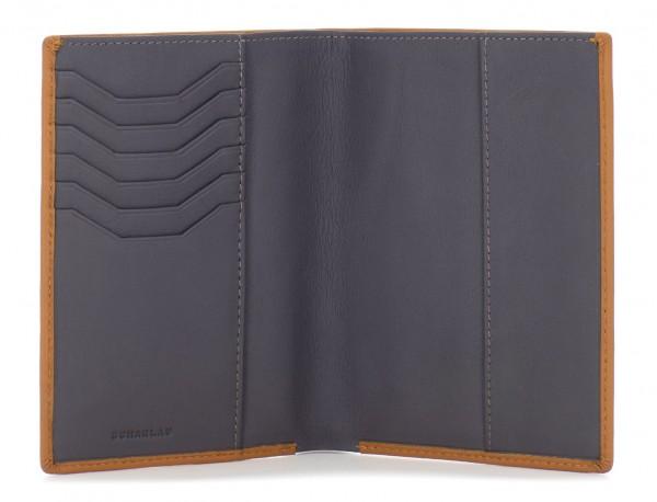 leather passport holder wallet camel open