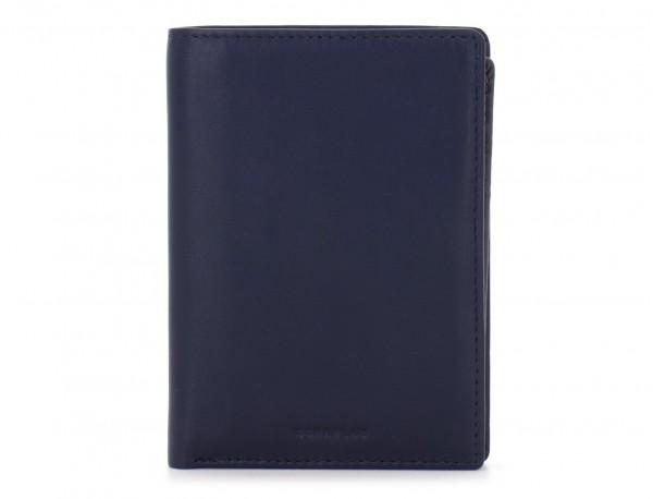 portafoglio in pelle porta carte blu front