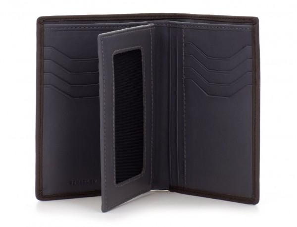 portafoglio in pelle porta carte marrone open