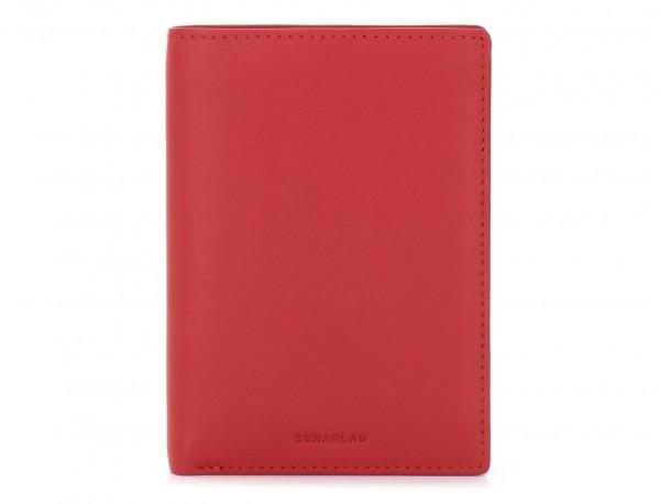 portafoglio in pelle porta carte rosso front