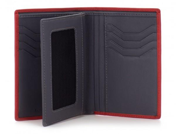 portafoglio in pelle porta carte rosso  open