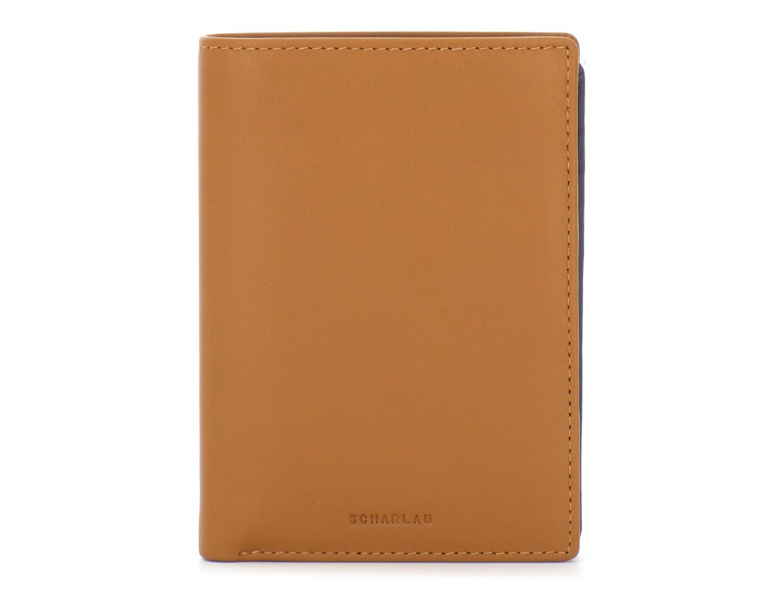 portafoglio in pelle porta carte rosso  cammello front
