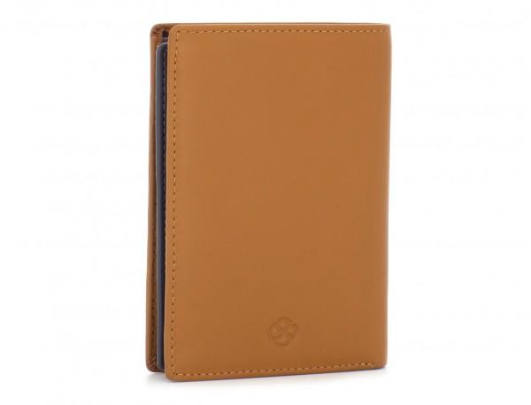 portafoglio in pelle porta carte rosso  cammello side
