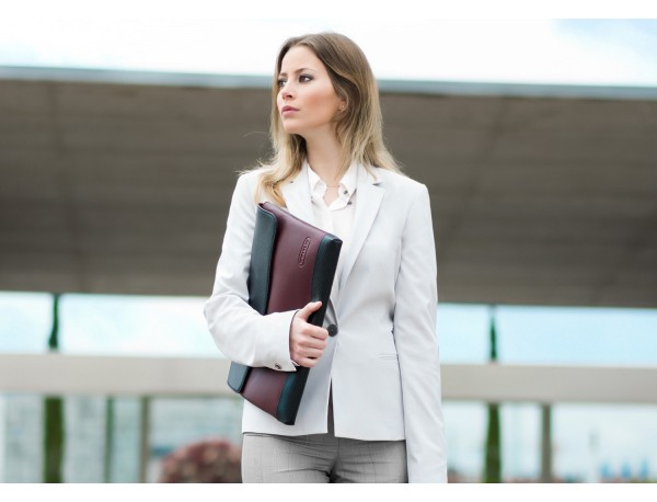 """Leather laptop sleeve 13.3"""" inch in burgundy lifestyle"""