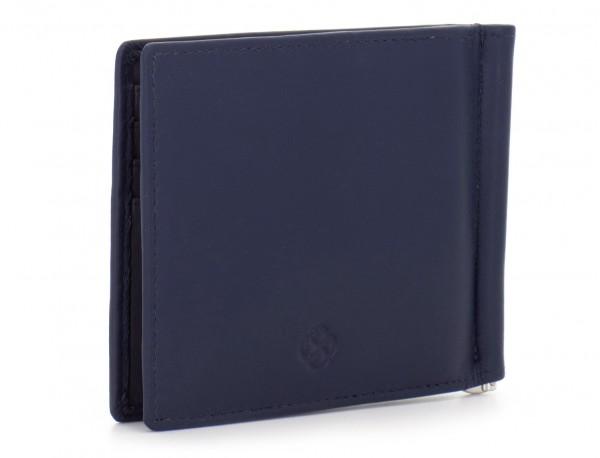 portafoglio in pelle blu side