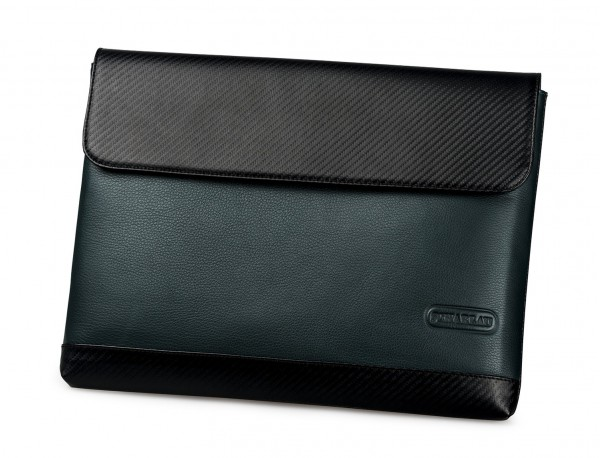 """Leather laptop sleeve 13.3"""" inch in green front"""