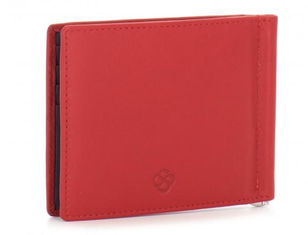 cartera de hombre de cuero rojo lado