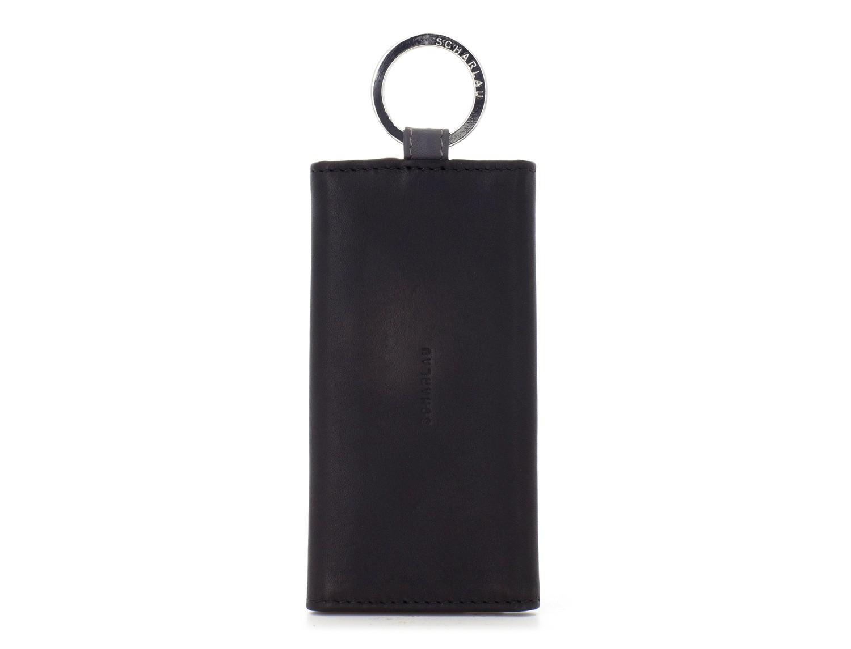 leather key holder wallet black front