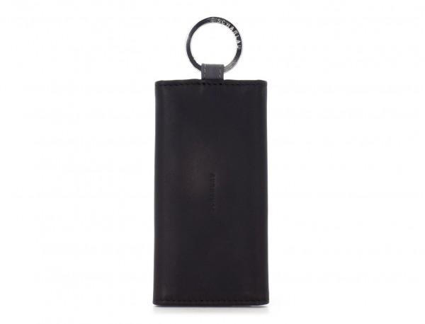 cartera de piel para llaves negra frontal