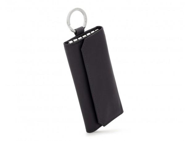 leather key holder wallet black side