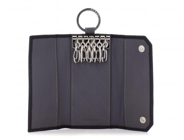 leather key holder wallet black