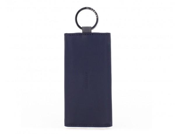 cartera de piel para llaves azul frontal