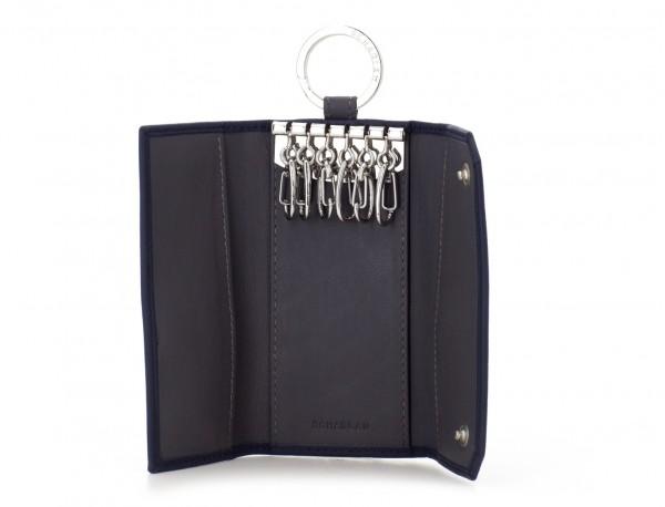 cartera de piel para llaves negra abierto