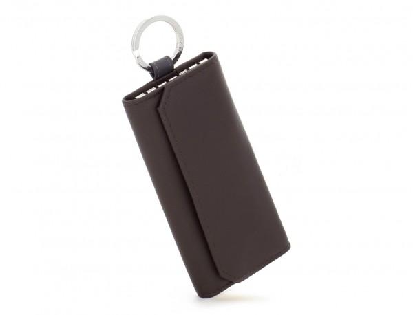 cartera de piel para llaves marrón lado