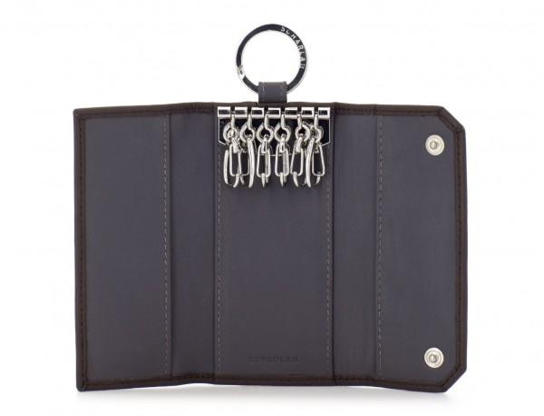 cartera de piel para llaves marrón abierto