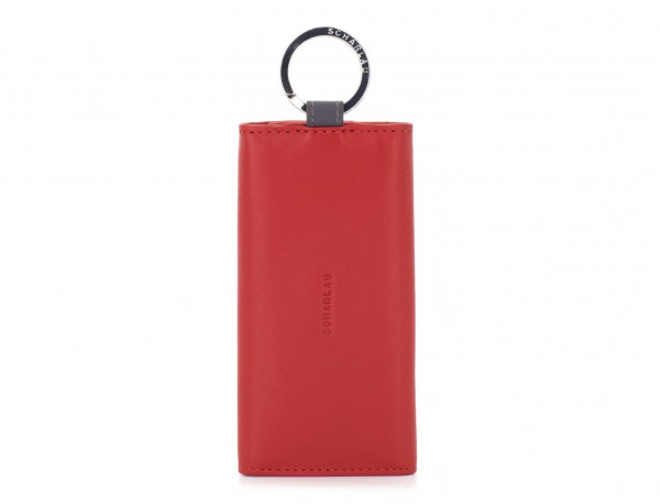 leather key holder wallet red front