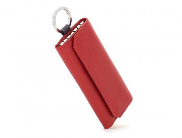 leather key holder wallet red side