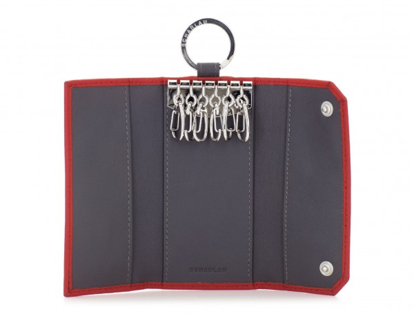 leather key holder wallet red open