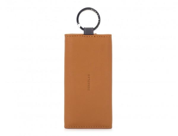 leather key holder wallet camel front