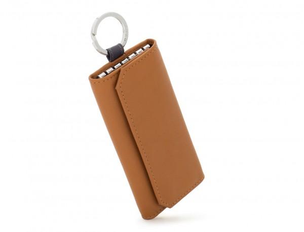 leather key holder wallet camel side
