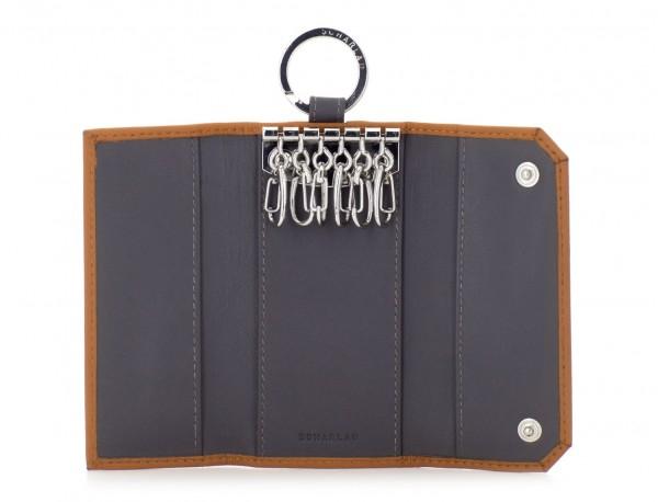 leather key holder wallet camel open