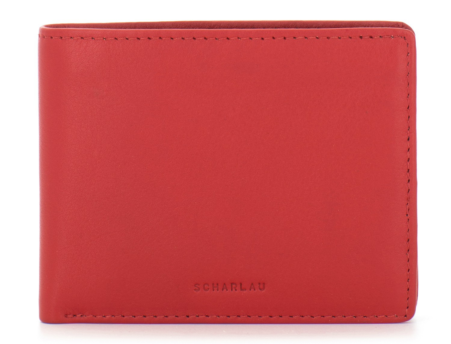 mini leather wallet for men red front