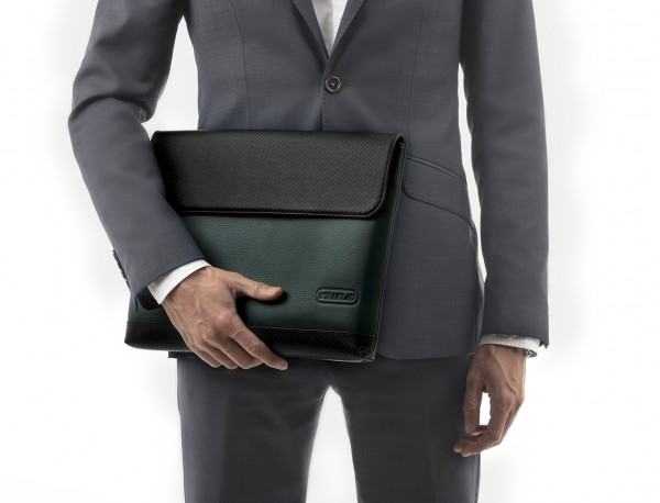 """Leather laptop sleeve 13.3"""" inch in green model detail"""