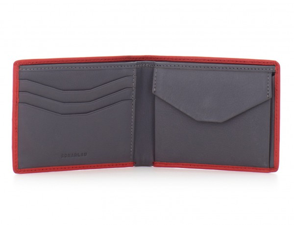 mini leather wallet for men red open