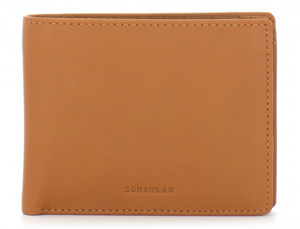 mini leather wallet for men camel front