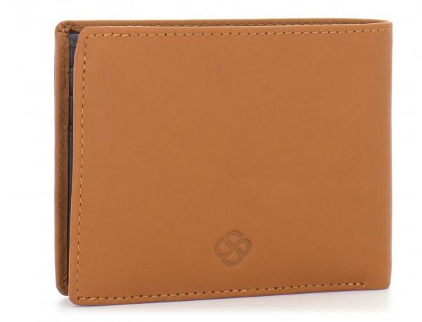 mini leather wallet for men camel side