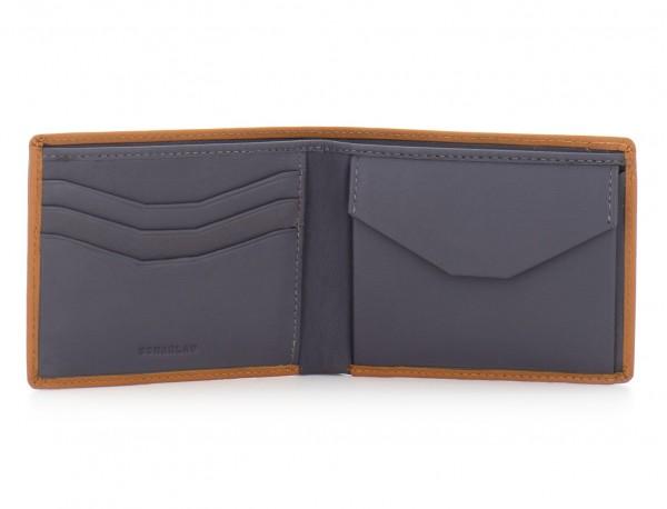 mini leather wallet for men camel open