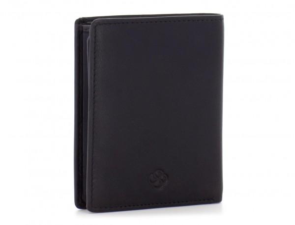billetero de cuero  porta tarjetas negro lado