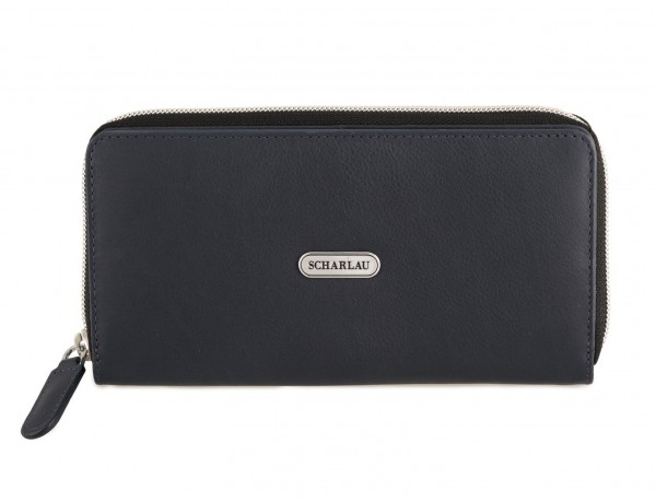 Leather women's wallet with coin pocket in blue front