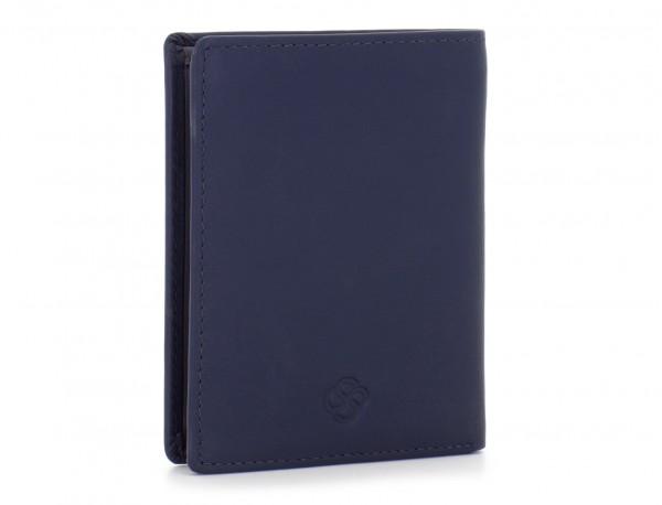 billetero de cuero porta tarjetas gris lado