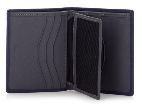 small leather wallet for men black open